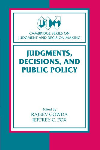 9780521179959: Judgments, Decisions, and Public Policy (Cambridge Series on Judgment and Decision Making)