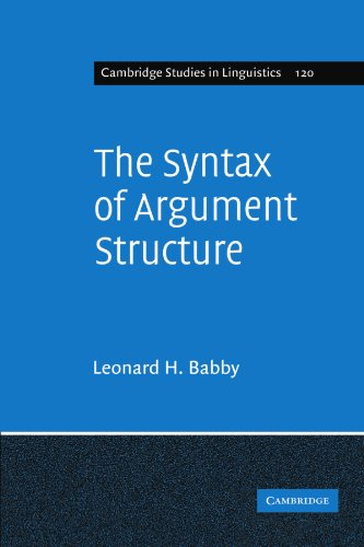 9780521182331: The Syntax of Argument Structure (Cambridge Studies in Linguistics)