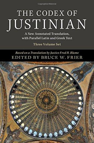 Codex of Justinian 3 Volume Hardback Set (Hardcover): Fred H. Blume