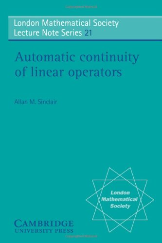Automatic Continuity of Linear Operators (London Mathematical: Sinclair, Allan M.