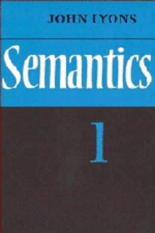 9780521214735: Semantics: Volume 1