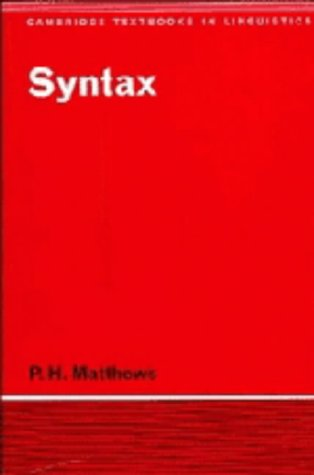 9780521228947: Syntax (Cambridge Textbooks in Linguistics)