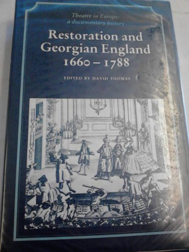 9780521233804: Restoration and Georgian England 1660-1788 (Theatre in Europe: A Documentary History)