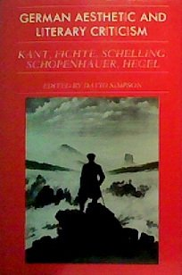 9780521236300: German Aesthetic Literary Criticism: Kant, Fichte, Schelling, Schopenhauer, Hegel (German Aesthetic and Literary Criticism)