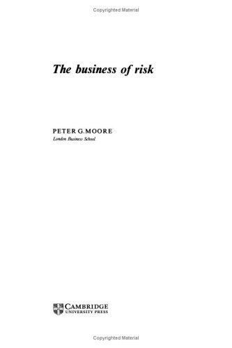 9780521241748: The Business of Risk