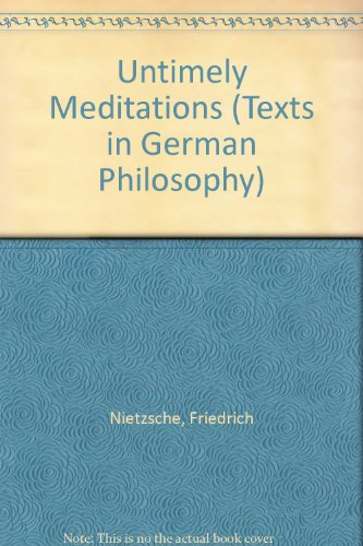 9780521247405: Untimely Meditations (Texts in German Philosophy)