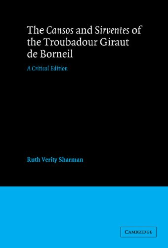 9780521256353: The Cansos and Sirventes of the Troubadour, Giraut de Borneil Hardback: A Critical Edition