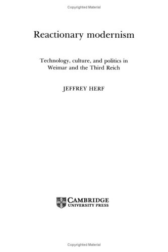 9780521265669: Reactionary Modernism: Technology, culture, and politics in Weimar and the Third Reich
