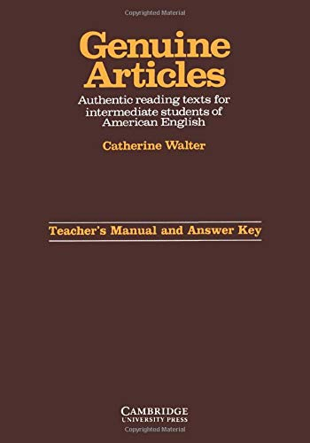 9780521278010: Genuine Articles Teacher's manual with key: Authentic Reading Tasks for Intermediate Students of American English