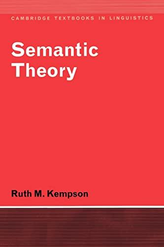 9780521292092: Semantic Theory (Cambridge Textbooks in Linguistics)