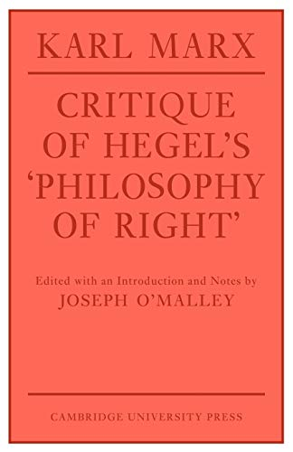 9780521292115: Critique of Hegel's 'Philosophy Of Right' (Cambridge Studies in the History and Theory of Politics)