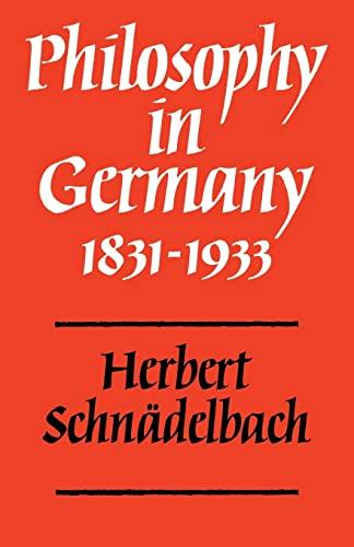 9780521296465: Philosophy in Germany 1831-1933