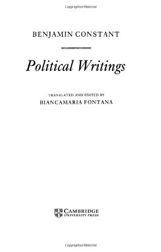 9780521303361: Constant: Political Writings (Cambridge Texts in the History of Political Thought)
