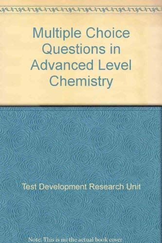 9780521316934: Multiple Choice Questions in Advanced Level Chemistry (Test Development and Research Unit objective test series)