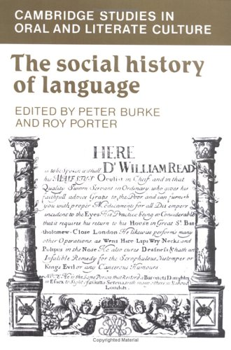 9780521317634: The Social History of Language (Cambridge Studies in Oral and Literate Culture)