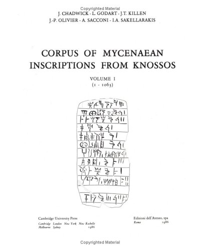 9780521320221: Corpus of Mycenaean Inscriptions from Knossos: Volume 1, 1-1063: 001