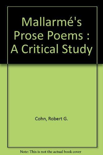 Mallarmé's Prose Poems: A Critical Study (Cambridge Studies in French): Cohn, Robert ...