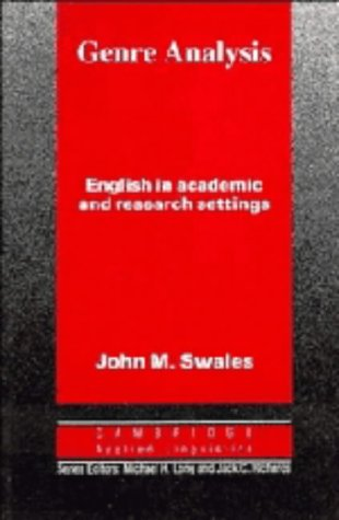 9780521328692: Genre Analysis: English in Academic and Research Settings (Cambridge Applied Linguistics)