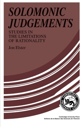 9780521376082: Solomonic Judgements: Studies in the Limitation of Rationality