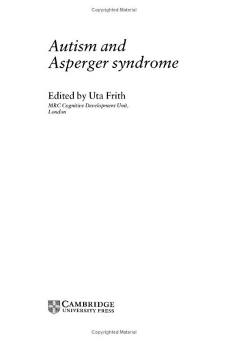 9780521384483: Autism and Asperger Syndrome