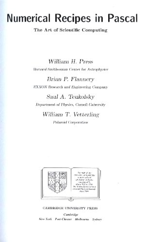 Numerical Recipes in Pascal (Revised) Examples Macintosh Disk Version 1.0: The Art of Scientific Computing (0521387671) by Press, William H.; Flannery, Brian P.; Teukolsky, Saul A.; Vetterling, William T.