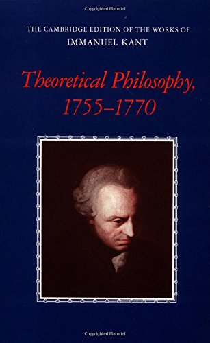9780521392143: Theoretical Philosophy, 1755-1770 (The Cambridge Edition of the Works of Immanuel Kant)