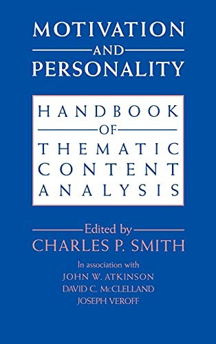 9780521400527: Motivation and Personality: Handbook of Thematic Content Analysis