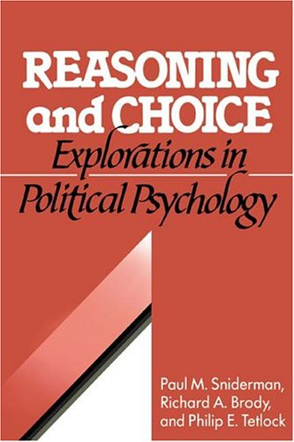 9780521402552: Reasoning and Choice Hardback: Explorations in Political Psychology (Cambridge Studies in Public Opinion and Political Psychology)