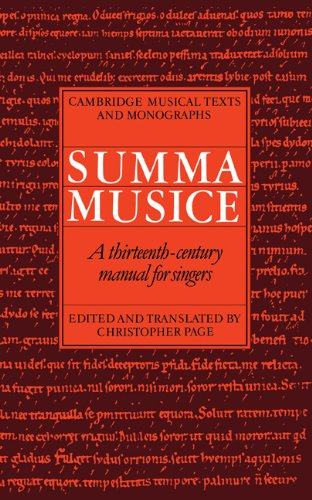 9780521404204: Summa Musice: A Thirteenth-Century Manual for Singers (Cambridge Musical Texts and Monographs)