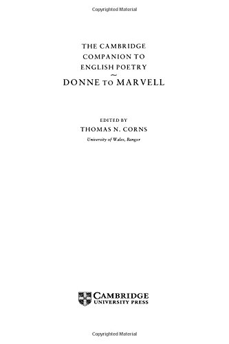 9780521411479: The Cambridge Companion to English Poetry, Donne to Marvell