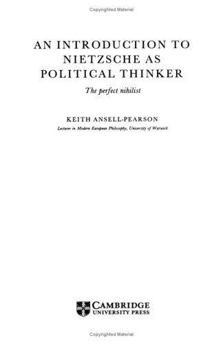 9780521417228: An Introduction to Nietzsche as Political Thinker: The Perfect Nihilist