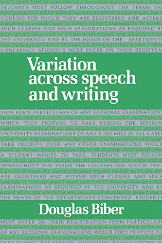 9780521425568: Variation across Speech and Writing