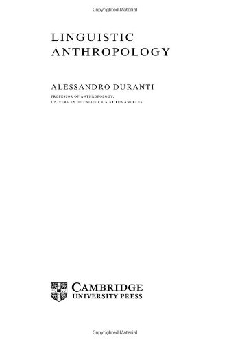 Linguistic Anthropology: Duranti, Alessandro