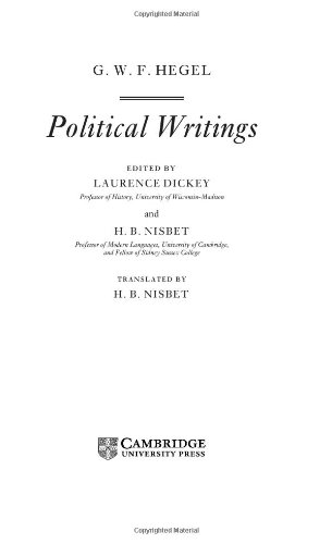 9780521453691: Hegel: Political Writings (Cambridge Texts in the History of Political Thought)