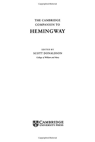 9780521454797: The Cambridge Companion to Hemingway (Cambridge Companions to Literature)