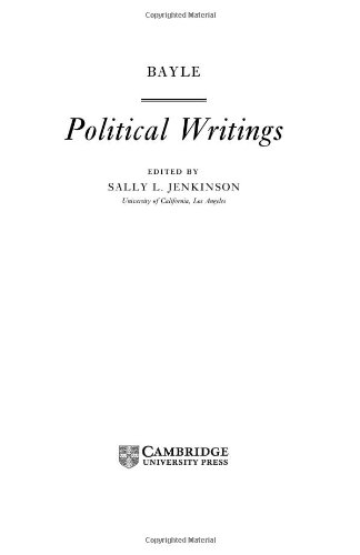 9780521470940: Bayle: Political Writings (Cambridge Texts in the History of Political Thought)