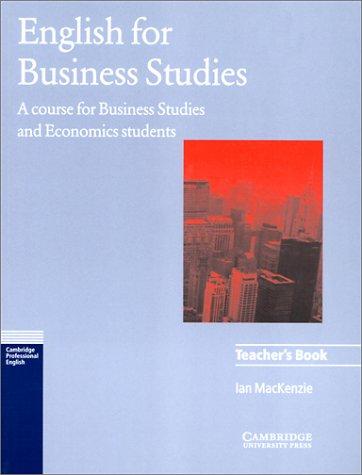 9780521483520: English for Business Studies Teacher's book: A Course for Business Studies and Economics Students