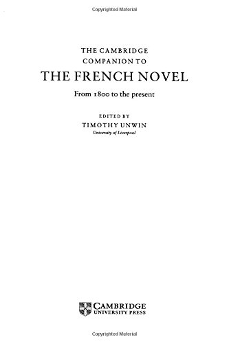 9780521495639: The Cambridge Companion to the French Novel: From 1800 to the Present