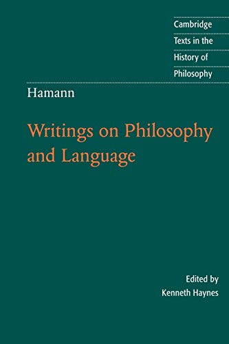 Hamann: Writings on Philosophy and Language
