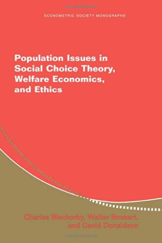 9780521532587: Population Issues in Social Choice Theory, Welfare Economics, and Ethics (Econometric Society Monographs)