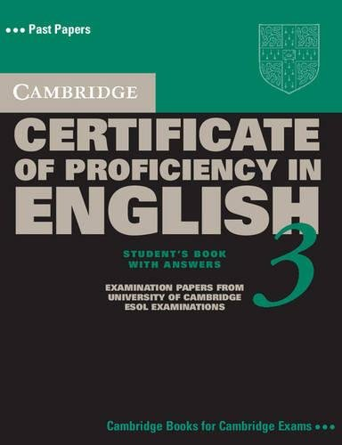 9780521543866: Cambridge Certificate of Proficiency in English 3 Student's Book with Answers: Examination Papers from University of Cambridge ESOL Examinations (CPE Practice Tests)