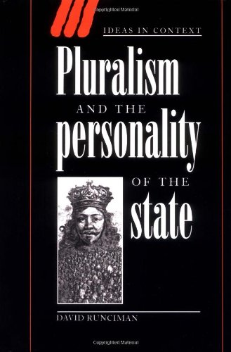9780521551915: Pluralism and the Personality of the State (Ideas in Context)