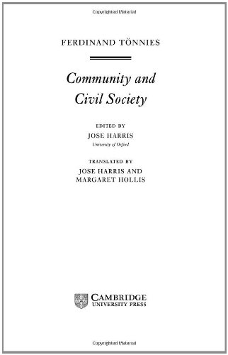 9780521561198: Tönnies: Community and Civil Society Hardback (Cambridge Texts in the History of Political Thought)