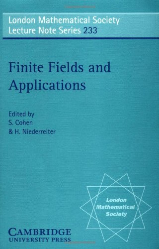 9780521567367: Finite Fields and Applications: Proceedings of the Third International Conference, Glasgow, July 1995 (London Mathematical Society Lecture Note Series)