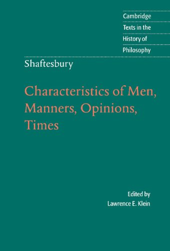 9780521570220: Shaftesbury: Characteristics of Men, Manners, Opinions, Times Hardback (Cambridge Texts in the History of Philosophy)