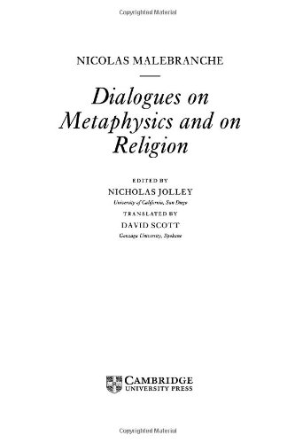 9780521574020: Malebranche: Dialogues on Metaphysics and on Religion (Cambridge Texts in the History of Philosophy)