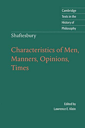 9780521578929: Shaftesbury: Characteristics of Men, Manners, Opinions, Times Paperback (Cambridge Texts in the History of Philosophy)