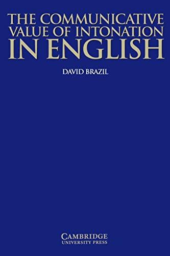 9780521584579: The Communicative Value of Intonation in English (Applied Linguistics Non)
