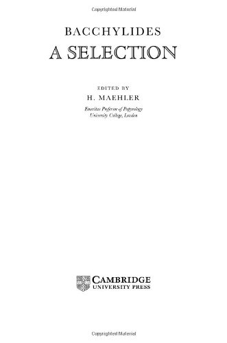 9780521590365: Bacchylides: A Selection (Cambridge Greek and Latin Classics)