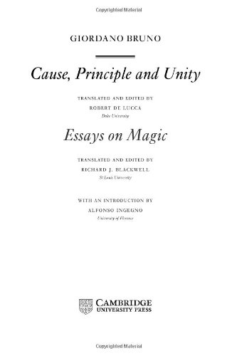 9780521593595: Giordano Bruno: Cause, Principle and Unity: And Essays on Magic (Cambridge Texts in the History of Philosophy)